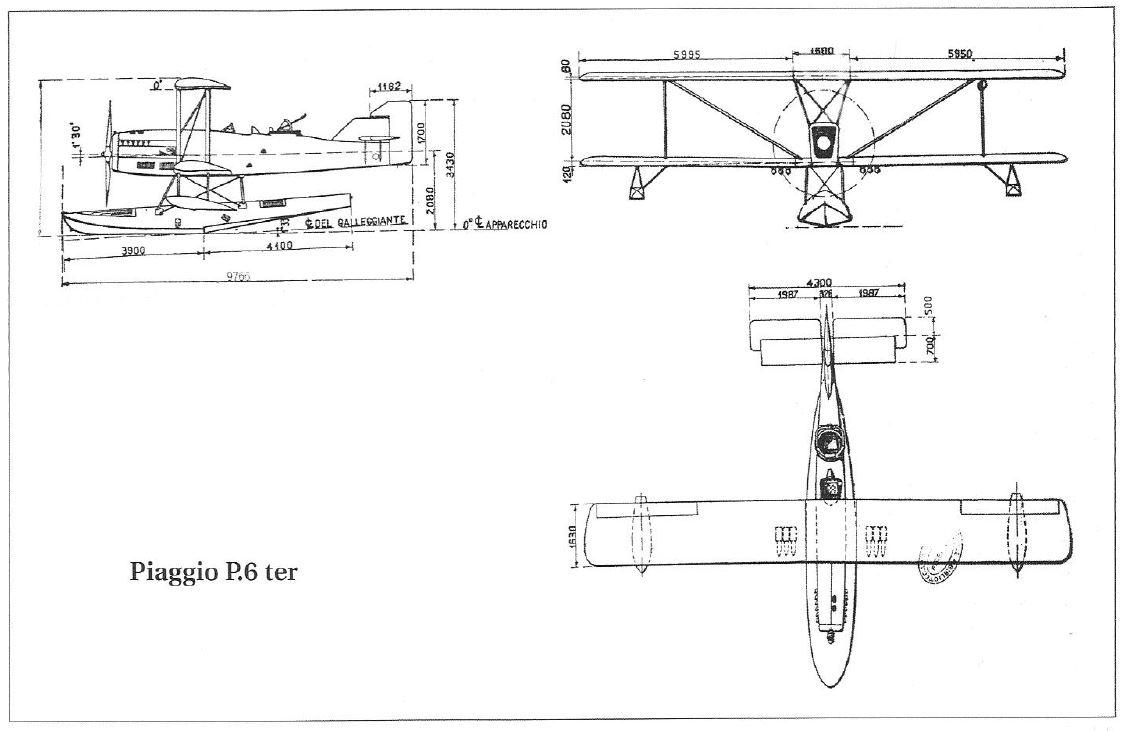 Il trittico del P6 Ter, unico disegno disponibile per realizzare il modello, oltre a quello dello scarpone.